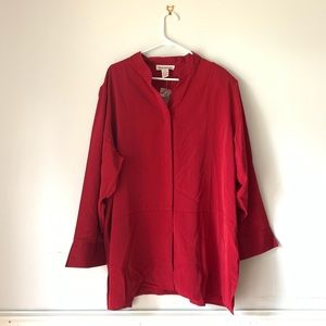 Silhouettes Maroon Plus Size Button Up Blouse